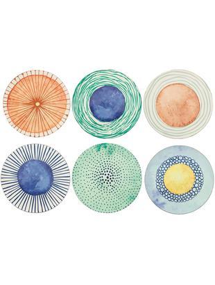 Set 6 piatti piani con disegni diversi Marea, Materiale sintetico, Blu, bianco, giallo, verde, arancione, Ø 33 cm