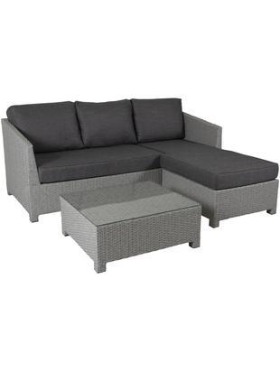 Garten-Lounge-Set Conmay, 3-tlg., Gestell: Aluminium, Kunstrattan, Bezug: Olefin, Tischplatte: Glas, Gestell: GrauBezug: DunkelgrauTischplatte: Transparent, Sondergrößen