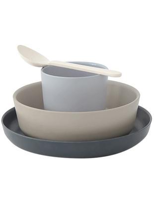 Frühstücksset Miku, 4-tlg., Bambusfasern, Melamin, lebensmittelecht BPA, PVC und Phthalate frei, Grau, Beige, Blau, Cremeweiss, Verschiedene Grössen