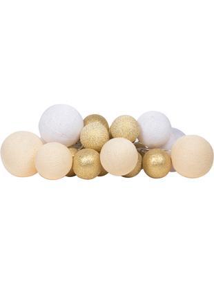 LED Lichterkette Moodi, Lampions: Polyester, Gelbtöne, Goldfarben, Weiß, L 264 cm