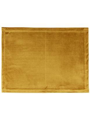Podkładka z aksamitu Simone, 2 szt., Aksamit poliestrowy, Musztardowy, S 35 x D 45 cm