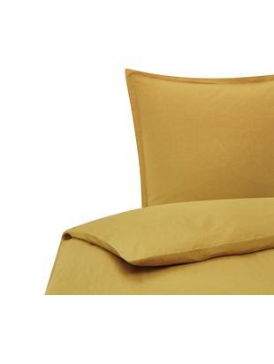Pościel z lnu z efektem sprania Breezy, 52% len, 48% bawełna Z efektem stonewash zapewniającym miękkość w dotyku, Musztardowy, 135 x 200 cm