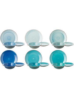 Set di piatti Baita, 6 persone (18 pz.), Terracotta (Hard Dolomite), dipinto a mano, Tonalità blu, menta, turchesi, Diverse dimensioni