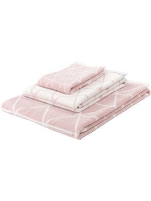 Komplet dwustronnych ręczników Elina, 3 elem., 100% bawełna Średnia gramatura 550 g/m², Blady różowy, kremowobiały, Różne rozmiary