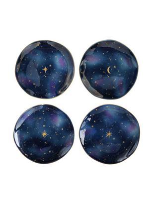 Set piatti da colazione Galaxy, 4 pz., Porcellana, Blu, oro, Ø 16 x Alt. 2 cm