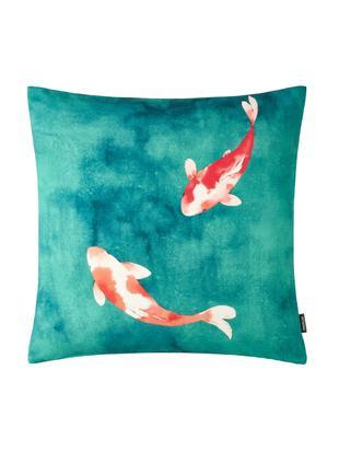Federa arredo Koi, Cotone, Tonalità verdi, rosso corallo, crema, Larg. 50 x Lung. 50 cm