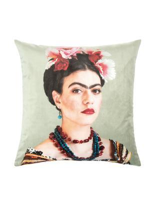 Federa arredo in velluto Frida, Velluto di poliestere, Menta, Larg. 45 x Lung. 45 cm