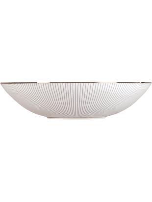 Platos hondos Pin Stripe, 4uds., Borde: plateado, Blanco, azul, platino, Ø 18 x Al 4 cm