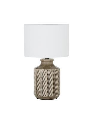 Keramik-Tischleuchte Nia, Lampenschirm: Textil, Lampenschirm: WeissLampenfuss: Braun, Nickel, Ø 26 x H 43 cm
