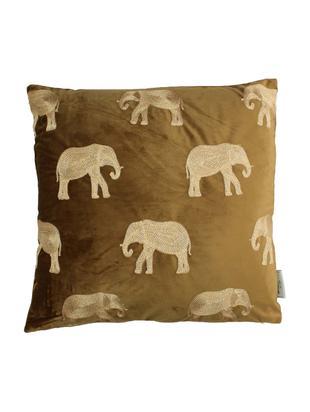 Gold besticktes Samt-Kissen Elephant in Braun, mit Inlett, Samt (Polyester), Braun, Goldfarben, 45 x 45 cm