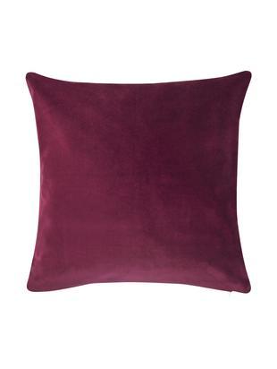 Poszewka na poduszkę z aksamitu Alyson, 100% aksamit bawełniany, Wiśniowy, S 40 x D 40 cm