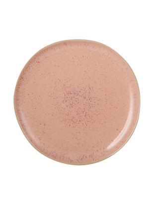 Plato llano pintado a mano Areia, Gres, Tonos rojos, blanco crudo, beige claro, Ø 28 cm