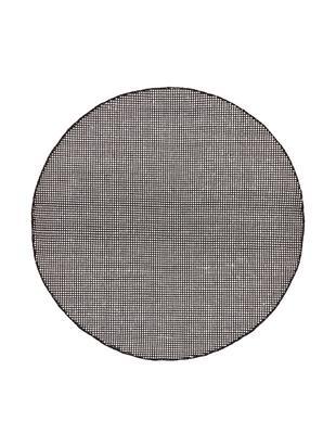 Runder Wollteppich Amaro, handgewebt, 38% Wolle, 22% Polyester, 20% Baumwolle, 20% Polyamid, Schwarz, Cremeweiß, Ø 140 cm (Größe M)