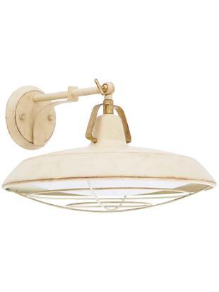 Outdoor LED wandlamp Plec, Lamp: gelakt staal, Diffuser: kunststof (PVC), Crèmekleurig, 37 x 20 cm
