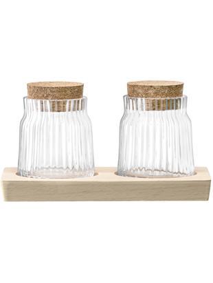 Set saliera e peppiera Gio Line 3 pz, Contenitore: vetro, Vassoio: legno di faggio, Trasparente, sughero, Larg. 16 x Alt. 9 cm