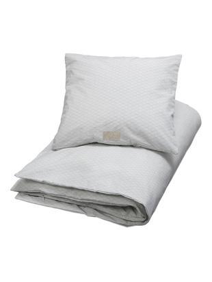 Baumwollsatin-Bettwäsche Wave, Baumwollsatin, GOTS-zertifiziert, Grau, Weiß, 100 x 135 cm