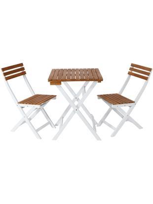 Balkon-Set Morning Star, 3-tlg., Akazienholz, lackiert, Akazienholz, Weiß, Sondergrößen