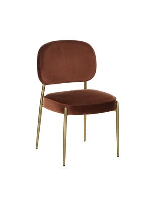 Sedia imbottita in velluto Viggo, Rivestimento: velluto (poliestere) 50.0, Rivestimento: marrone Gambe e struttura: dorato opaco, Larg. 49 x Prof. 66 cm