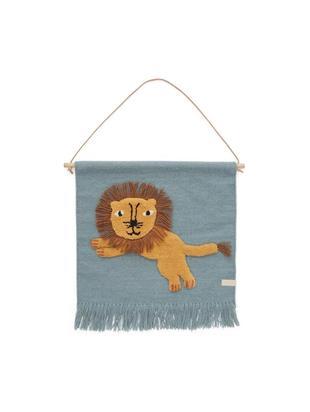 Dekoracja ścienna Lion, Wełna, bawełna, drewno naturalne, Niebieski, pomarańczowy, brązowy, S 52 x W 55 cm