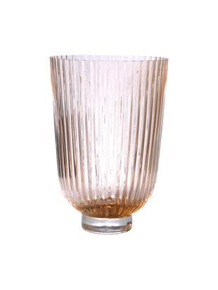 Vaso in vetro Ribbed, Vetro, Pesca, Ø 19 x Alt. 27 cm