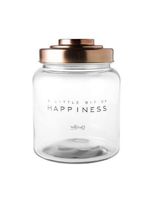 Aufbewahrungsglas Happiness, Deckel: Porzellan, lackiert, Transparent, Ø 16 x H 21 cm