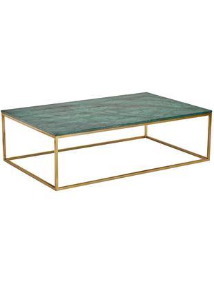 Marmor-Couchtisch Alys, Tischplatte: Marmor, Gestell: Metall, beschichtet, Grüner Marmor, Goldfarben, B 120 x T 75 cm