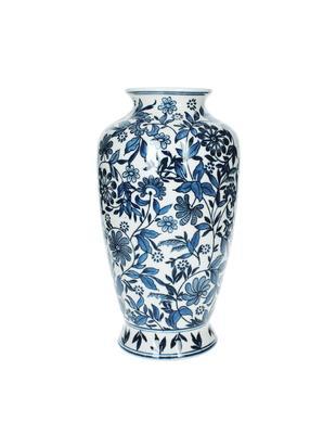 Vaso decorativo in porcellana Lin, Porcellana non impermeabile, Blu, bianco, Alt. 31 cm
