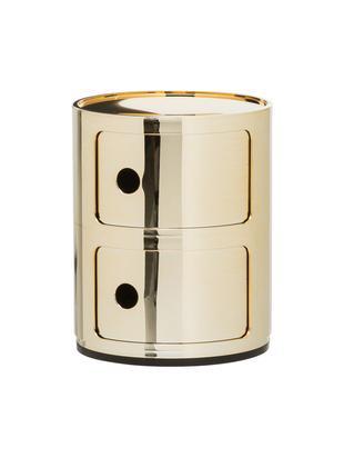 Comodino di design con cassetti Componibile, Materiale sintetico, rivestito in metallo, Dorato, Ø 32 x Alt. 40 cm