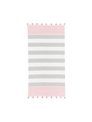 Fouta z frędzlami Pytris, Bawełna Bardzo niska gramatura, 185 g/m², Różowy, szary, biały, S 95 x D 175 cm