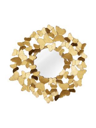 Runder Wandspiegel Butterfly mit Goldrahmen, Rahmen: Metall, Rückseite: Mitteldichte Holzfaserpla, Spiegelfläche: Spiegelglas, Goldfarben, Ø 40 cm