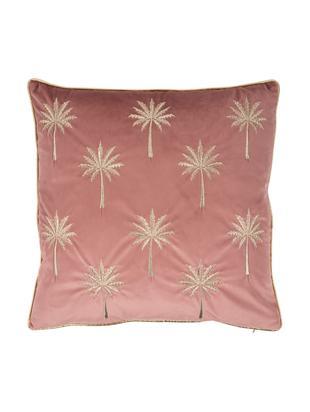 Federa arredo in velluto ricamata Palms, Poliestere, Rosa, dorato, Larg. 45 x Lung. 45 cm