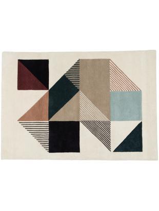 Ręcznie tuftowany dywan z wełny Mikill, Beżowy i odcienie niebieskiego, czerwony, blady różowy, czarny, S 140 x D 200 cm