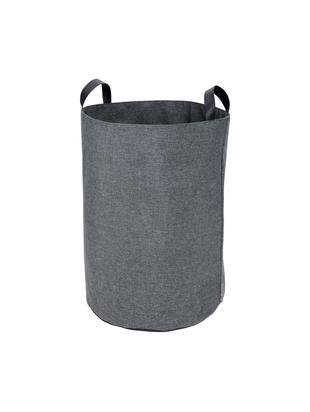 Portabiancheria Floor, Manico: pelle, Cesta : grigio manico: nero, Ø 40 x Alt. 55 cm