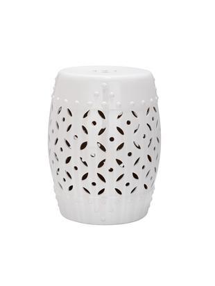 Ręcznie wykonany/stolik pomocniczy Philine, Ceramika glazurowana, Biały, Ø 33 x W 47 cm