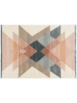 Ręcznie tuftowany dywan z wełny  Freya, Odcienie beżowego, blady różowy, niebieskoszary, S 140 x D 200 cm