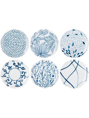 Dessertteller-Set Vassoio, 6 tlg., Porzellan, Blau, Weiß, Ø 20 cm