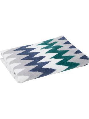 Asciugamano con motivo a zigzag Hanneke, Cotone, Blu, grigio, bianco, verde, Larg. 50 x Lung. 70 cm