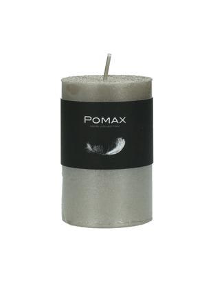 Stumpenkerze Arda, 80% Paraffinwachs, 20% Palmwachs, Silberfarben, Ø 5 x H 8 cm