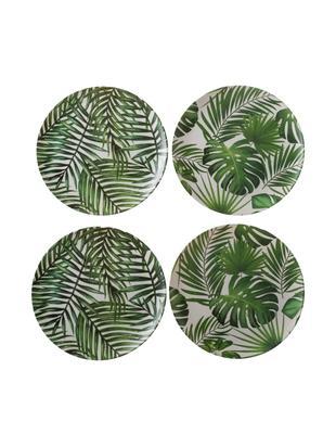 Komplet talerzy śniadaniowych z drewna bambusowego Tropical, 4 elem., 55%włókna bambusowe, 25%skrobia kukurydziana, 15%melamina, Odcienie zielonego, biały, Ø 20 cm