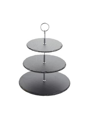Fuente 3 pisos Cooper, Bandejas: pizarra, Negro, cromo, Ø 30 x Al 31 cm