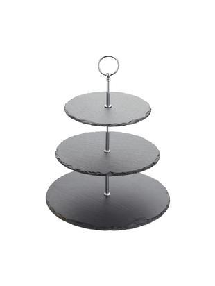 Etagère Cooper, Plateaus: leisteen, Frame: verchroomd metaal, Zwart, chroomkleurig, Ø 30 x H 31 cm