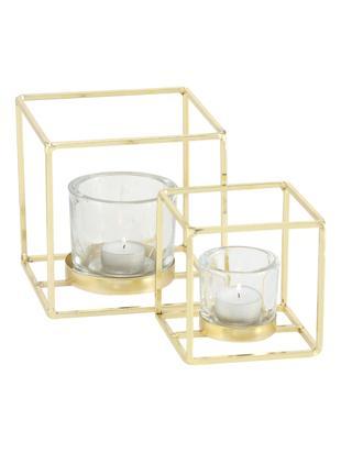 Set de portavelas Pazo, 2pzas., Portavelas: vidrio, Estructura: metal recubierto, Transparente, latón, Tamaños diferentes