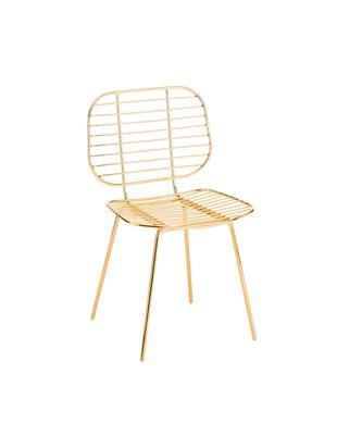 Krzesło Chloé, Metal powlekany, Złoty, 48 x 82 cm