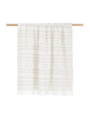 Pled z bawełny z frędzlami Nara, 100% bawełna, Kremowobiały, jasny różowy, S 130 x D 170 cm