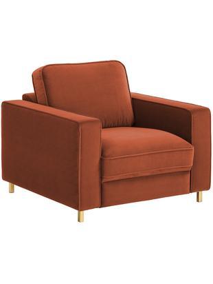 Samt-Sessel Chelsea, Bezug: Samt (Hochwertiger Polyes, Gestell: Massives Fichtenholz, Füße: Metall, beschichtet, Samt Rostrot, B 83 x T 93 cm