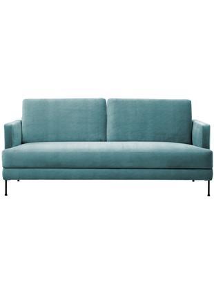 Samt-Sofa Fluente (3-Sitzer), Bezug: Samt (Polyester) 100.000 , Gestell: Massives Kiefernholz, Füße: Metall, lackiert, Samt Türkis, B 197 x T 83 cm
