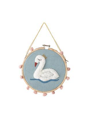 Dekoracja ścienna Swan, Bawełna, drewno sosnowe, Niebieski, wielobarwny, Ø 20 x G 1 cm