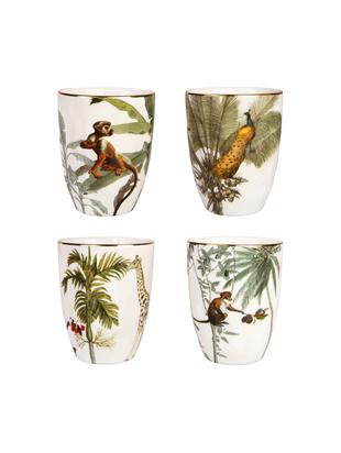 Set tazze Animaux, 4 pz., Porcellana, Multicolore, Ø 8 x Alt. 10 cm