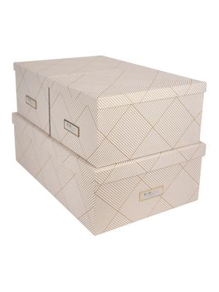 Set scatole Inge 3 pz, Scatola: solido cartone laminato, Dorato , bianco, Diverse dimensioni