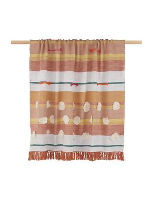 Pled z bawełny Madeline, Bawełna, Żółty, odcienie różowego, biały, zielony, S 130 x D 170 cm